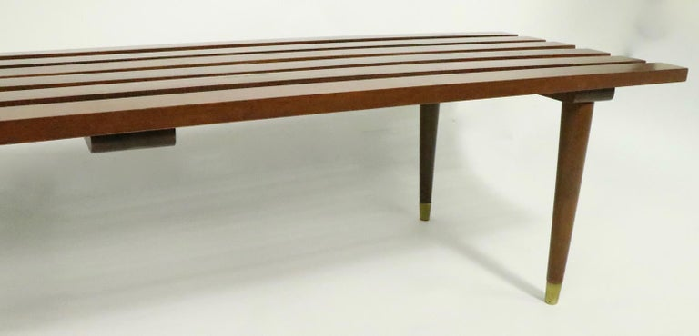 American Classic Mid Century Slat Bench Table For Sale