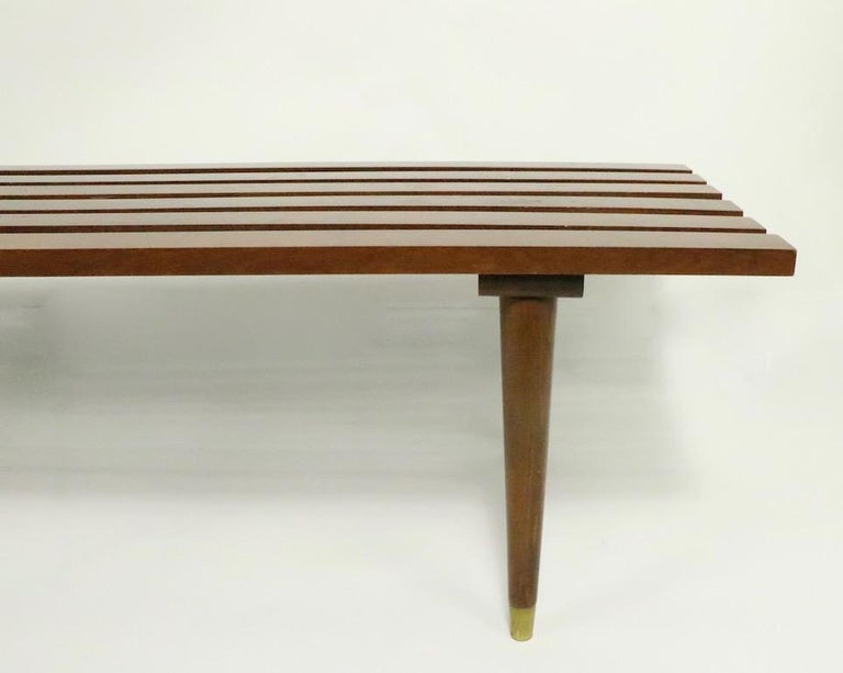 Classic Mid Century Slat Bench Table In Good Condition For Sale In New York, NY