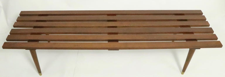 Wood Classic Mid Century Slat Bench Table For Sale