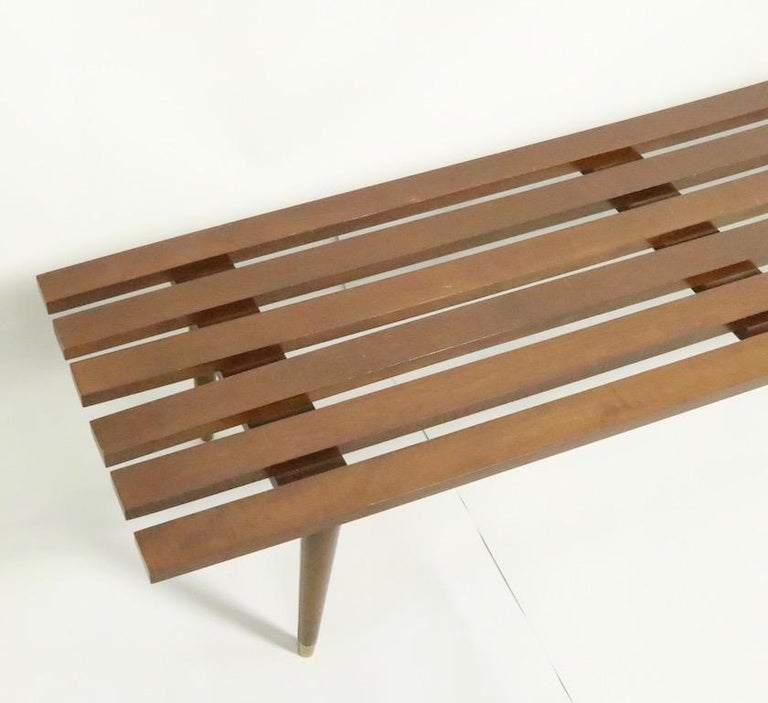 Classic Mid Century Slat Bench Table For Sale 1