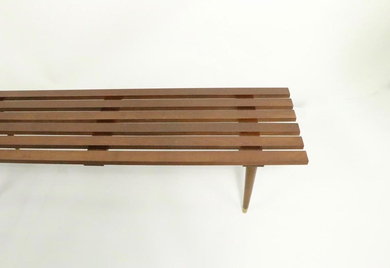 Classic Mid Century Slat Bench Table For Sale 2