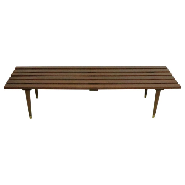 Classic Mid Century Slat Bench Table For Sale