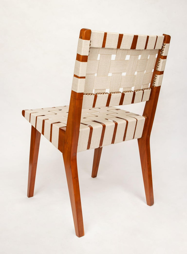 Hand-Woven Classic Jens Risom for Knoll Midcentury Woven Side Chairs, Pair For Sale