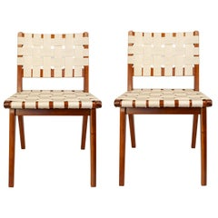 Classic Midcentury Teak Woven Side Chairs, Pair