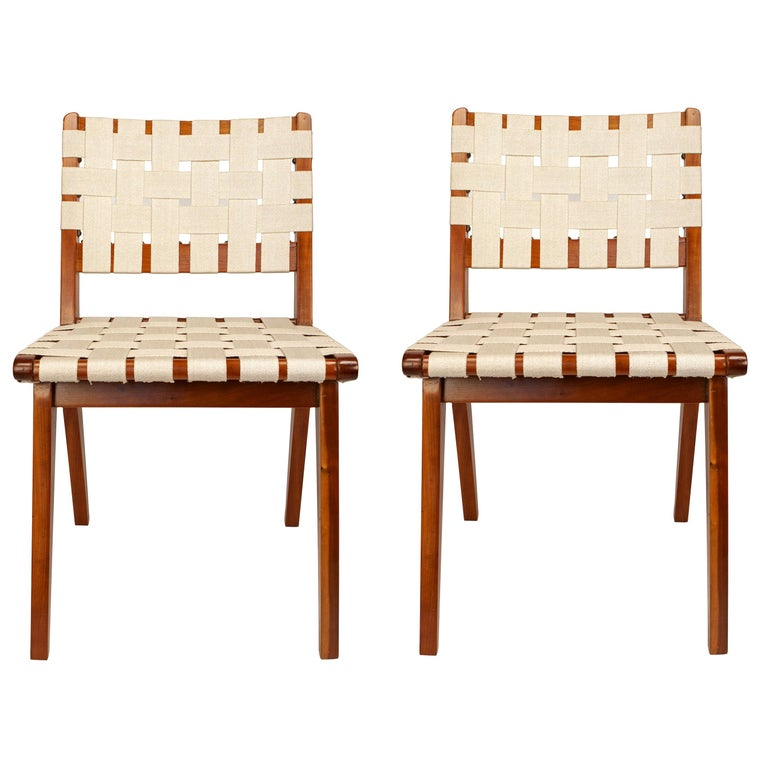 Classic Jens Risom for Knoll Midcentury Woven Side Chairs, Pair For Sale