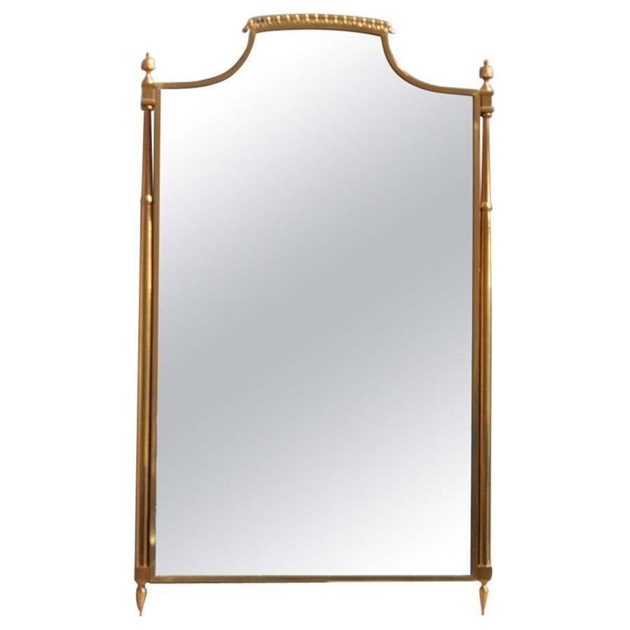 Classic Midcentury Wall Mirror Solid Brass Gold Italian Design, 1950s