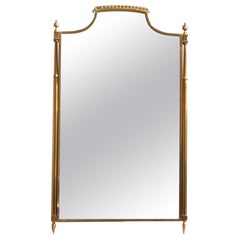 Classic Midcentury Wall Mirror Solid Brass Gold Italian Design, 1950s