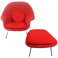 Classic Midcentury Womb Chair and Ottoman by Eero Saarinen for Knoll