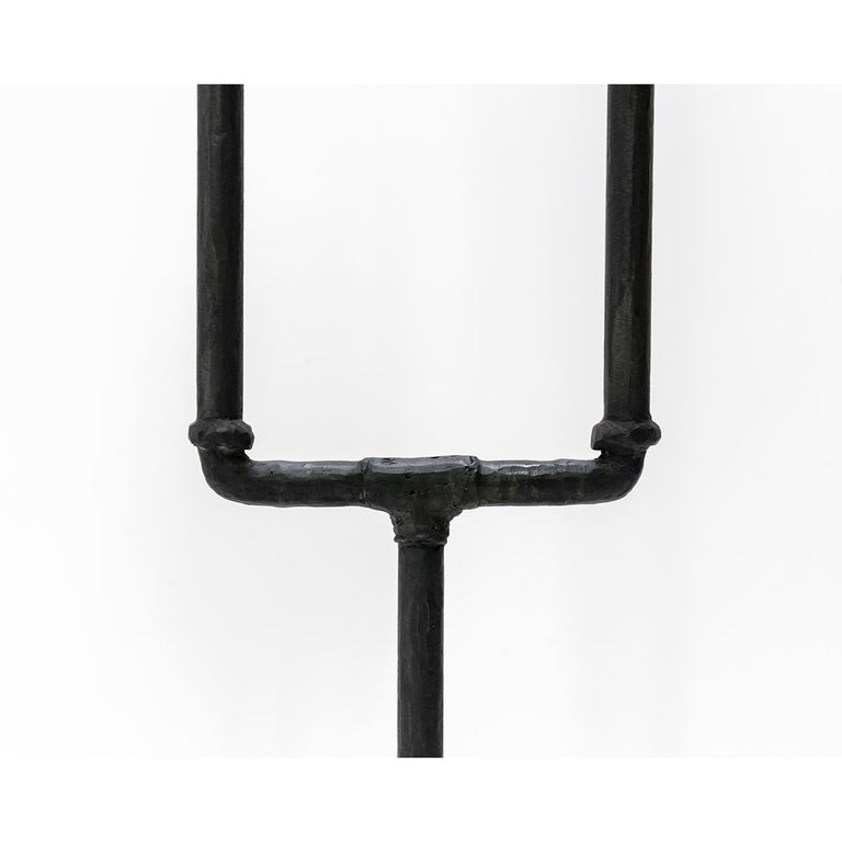American Classic Modern Hand Sculpted Blackened Steel Dual Parchement Shade Floor Lamp For Sale