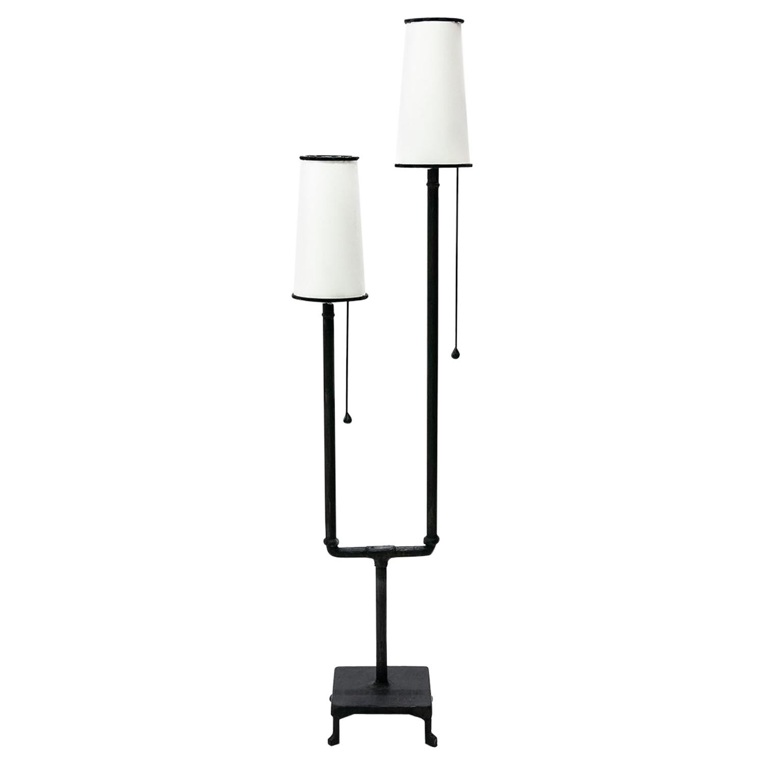 Classic Modern Hand Sculpted Blackened Steel Dual Parchement Shade Floor Lamp