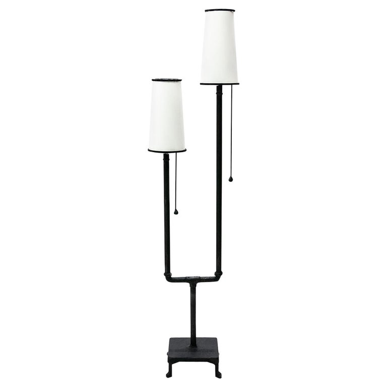 Classic Modern Hand Sculpted Blackened Steel Dual Parchement Shade Floor Lamp For Sale