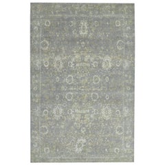 Classic Modern Rug in Silver Gray and Green All-Over Pattern by Rug & Kilim