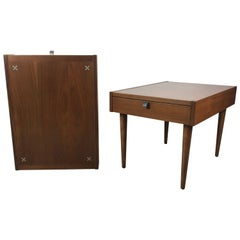 Classic Modernist American of Martinsville Nightstands with Aluminum Inlays