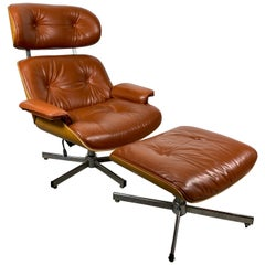 Classic Modernist Leather Eames Style Lounge Chair and Ottoman by Selig
