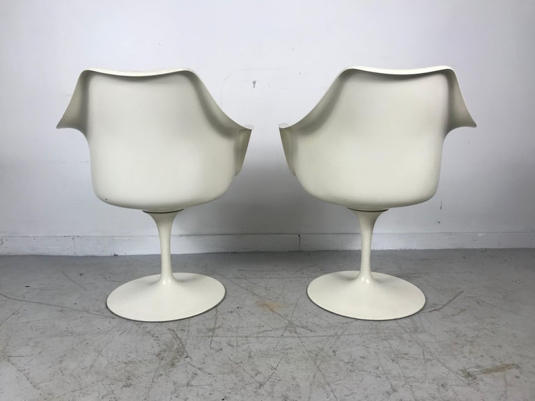 Metal Classic Modernist Pair Tulip Armchairs by Eero Saarinen for Knoll For Sale