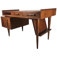 Classic Modernist Walnut Floating Desk by Sherman Bertram of California