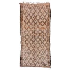 Classic Moroccan Berber Gallery Rug, Beni Ourain, White Purple & Orange Tones
