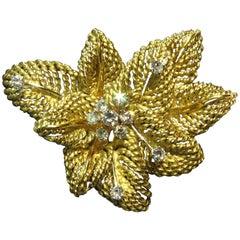 Classic Multi Leaf Design Diamond Gold Flower Motif Pin