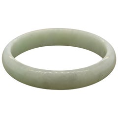 Classic Natural Green Jadeite Jade Bangle Bracelet