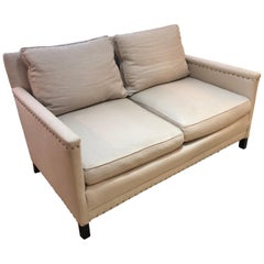 Classic Natural Linen Loveseat with Nickel Nailheads