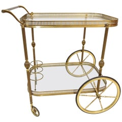 Classic Neoclassical / Hollywood Regency Gilded Brass Trolley by Maison Jansen
