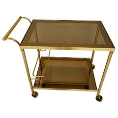 Classic Neoclassical / Hollywood Regency Gilded Brass Trolley