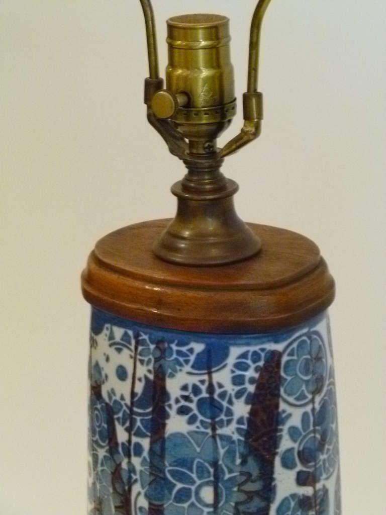 Scandinavian Modern Classic Nils Thorsson Baca Aluminia Royal Copenhagen Table Lamp For Sale