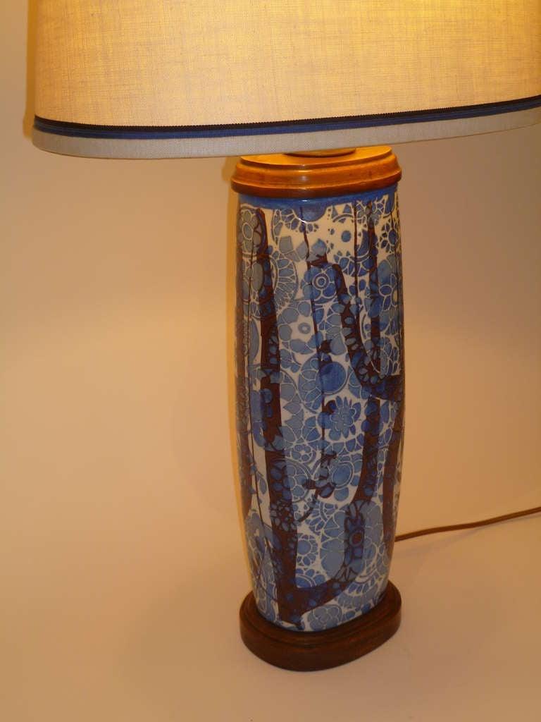 Danish Classic Nils Thorsson Baca Aluminia Royal Copenhagen Table Lamp For Sale