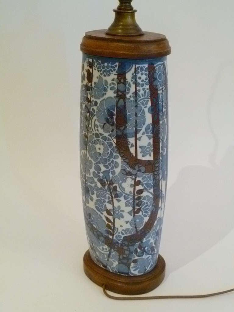 Pottery Classic Nils Thorsson Baca Aluminia Royal Copenhagen Table Lamp For Sale