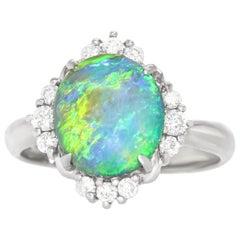 Classic Opal and Diamond-Set Platinum Ring