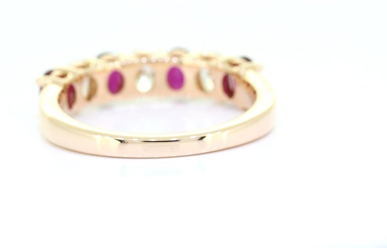 Contemporary Classic Oval Cut 1.50 Carat Seven Stone Ruby Diamond Ring 18 Karat Yellow Gold For Sale