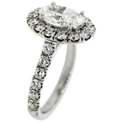 Classic Oval Diamond Halo Engagement Ring and Wedding Band 'GIA Certified'