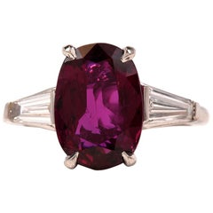 Classic Oval Ruby Baguette Diamond Platinum Ring