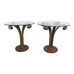 Classic Pair of Carved Grosfeld House Plume Side Tables
