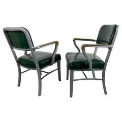 Classic Pair Grey Industrial Office Steel Tanker Arm Chairs by Steelcase