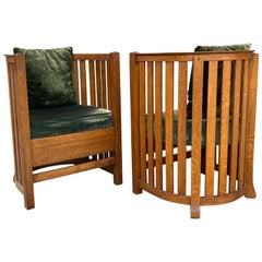 Classic Pair of Barrel Chairs, after Frank Lloyd Wright, attrib. Plail Brothers