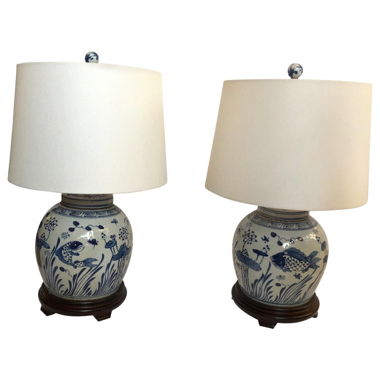 Classic Pair Of Blue And White Canton Style Ginger Jar Lamps With Carp