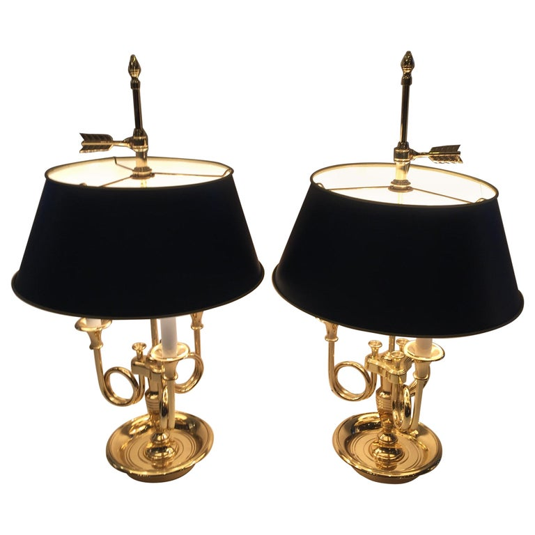 Classic Pair Of Brass 3 Arm Bouillette Table Lamps By Baldwin For