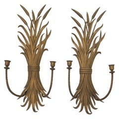 Classic Pair of Brass Wheat Sheaf Candle Sconces