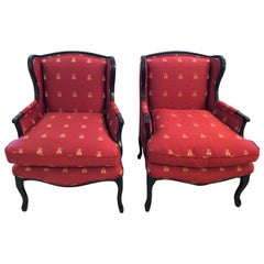 Classic Pair of Claret Napoleanic Bumblebee Scalamandre Upholstered Club Chairs
