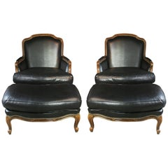 Classic Pair of Large French Louis XV Style Bergères with Ottomans