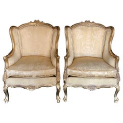 Classic Pair of Louis XV Style Giltwood Bergeres Armchairs