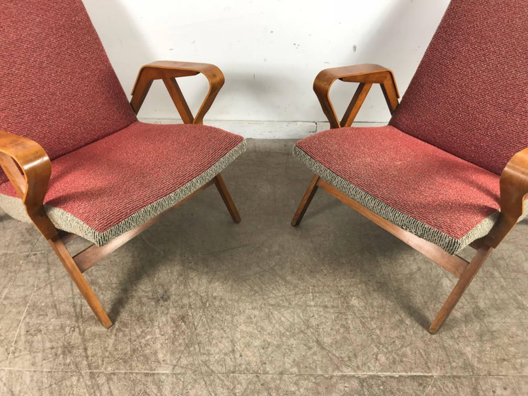 Italian Classic Pair of Mid-Century Modern Bentwood Lounge Chairs after Carlo Mollino For Sale