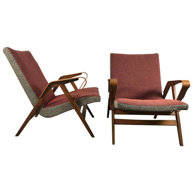 Classic Pair of Mid-Century Modern Bentwood Lounge Chairs after Carlo Mollino For Sale