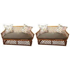 Classic Pair of Rattan Sofas Loveseats with New Upholstery