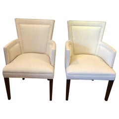 Classic Pair of Tailored Sophisticated Upholstered Club Chairs by Hickory Chair