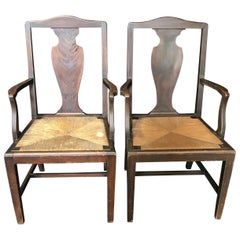 Classic Pair of Two Period British Chippendale Armchairs with Rush Seats