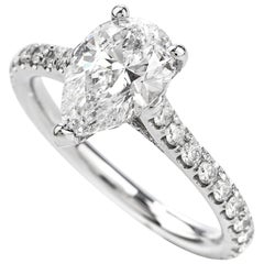 Classic GIA Pear Diamond 2.70 Carat D-VS2 Gold Engagement Ring