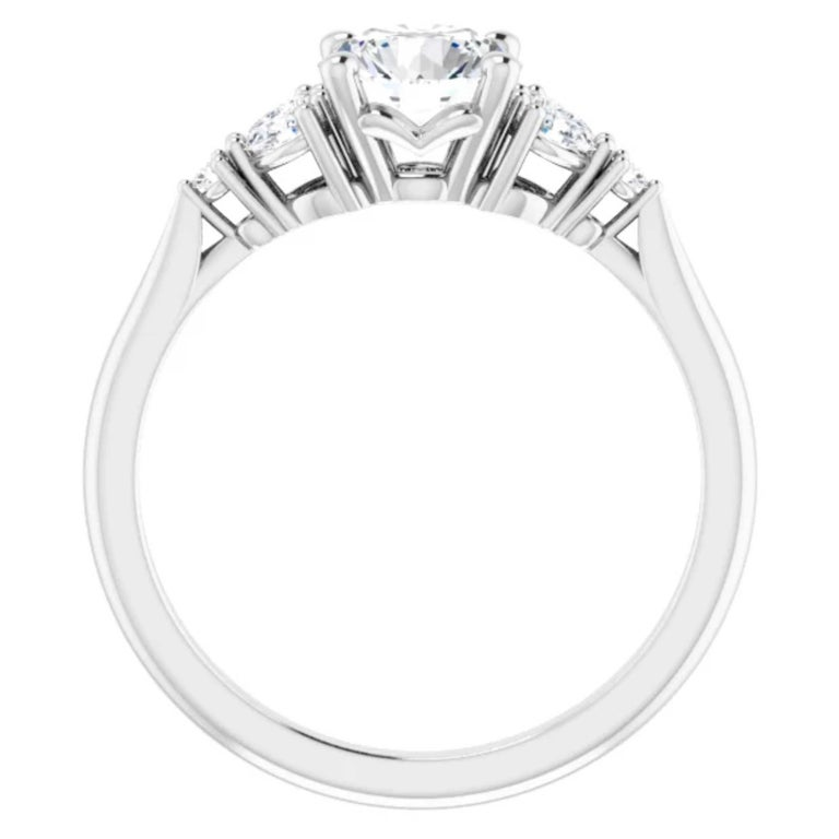 Round Cut GIA Certified Pear Shape Diamond Round Bridal Engagement Ring Set 18K White Gold For Sale