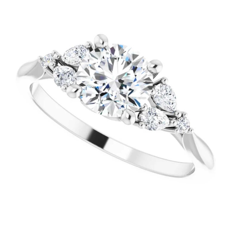 Women's GIA Certified Pear Shape Diamond Round Bridal Engagement Ring Set 18K White Gold For Sale